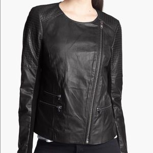 Trouve moto style real leather jacket